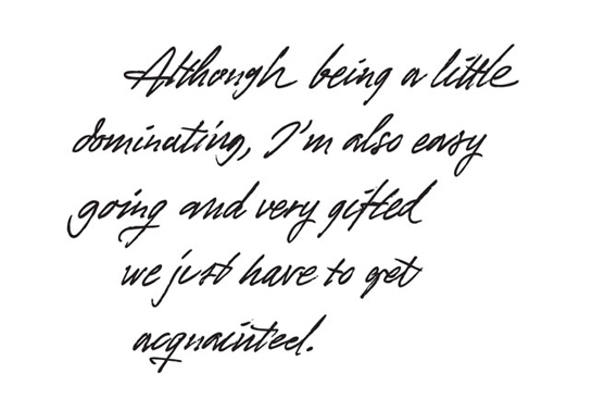 Signatures handwriting and script fonts a type design